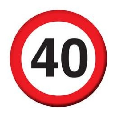 40-es sebességkorlátozós kitűző