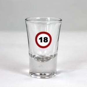 Feles üvegpohár sebességkorlátozós 18-as számmal