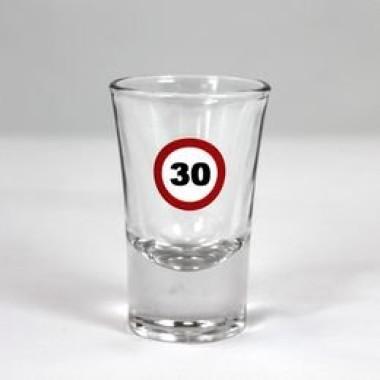 Feles üvegpohár sebességkorlátozós 30-as számmal