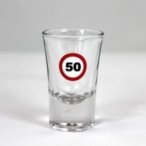 Feles üvegpohár sebességkorlátozós 50-es számmal