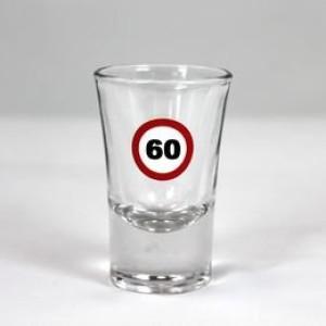 Feles üvegpohár sebességkorlátozós 60-as számmal