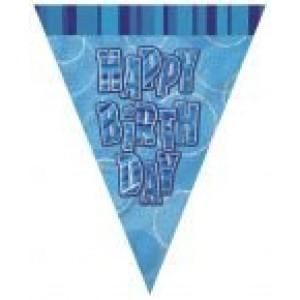 Zászlófűzér happy birthday feliarattal kék