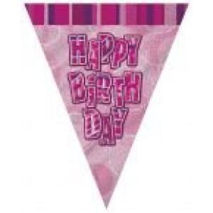Zászlófűzér rózsaszín Happy birthday felirattal