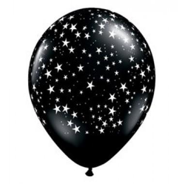 11' fekete csillagos gumi lufi