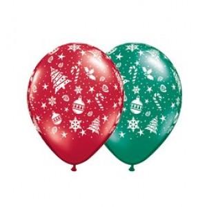 11' fenyőfás karácsonyi gumi lufi