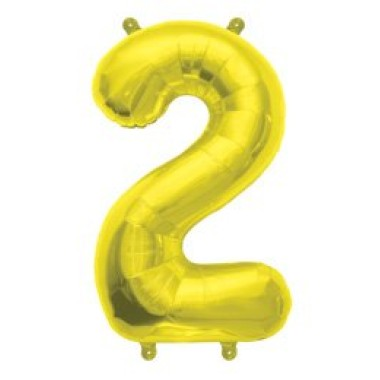 """16"""" arany fóliás 2-es számú lufi"""