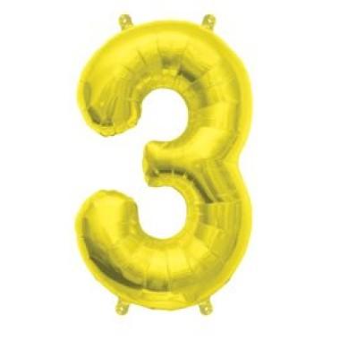 16' arany fóliás 3-as számú lufi