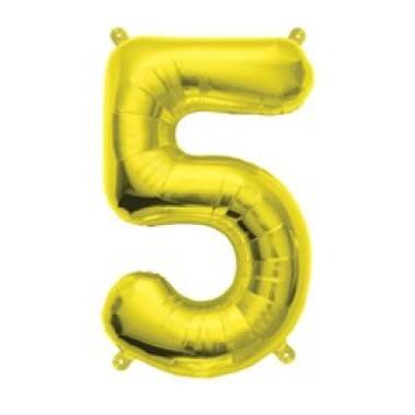 """16""""  arany fóliás 5-ös számú lufi"""