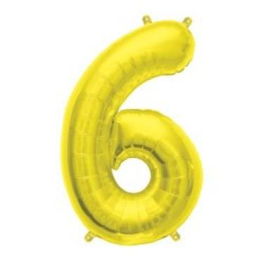 """16"""" arany fóliás 6-os számú lufi"""