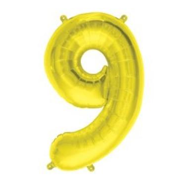16' arany 9-es számú fóliás lufi