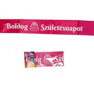 Vállszalag boldog születésnapot felirattal, rózsaszínben